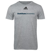 Adidas Sport Grey Logo T Shirt-University Wordmark Flat