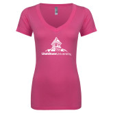 Next Level Ladies Junior Fit Ideal V Pink Tee-University Mark Stacked