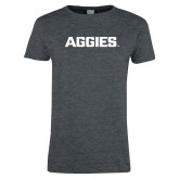 Ladies Dark Heather T Shirt-Wordmark Athletics