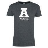 Ladies Dark Heather T Shirt-A Aggies