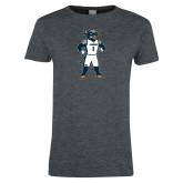 Ladies Dark Heather T Shirt-Big Blue Basketball