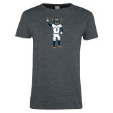 Ladies Dark Heather T Shirt-Big Blue Football