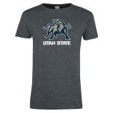 Ladies Dark Heather T Shirt-Utah State Stacked w/  Mascot