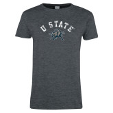 Ladies Dark Heather T Shirt-U State Arched