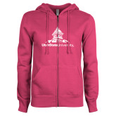 ENZA Ladies Fuchsia Fleece Full Zip Hoodie-University Mark Stacked