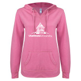 ENZA Ladies Hot Pink V Notch Raw Edge Fleece Hoodie-University Mark Stacked