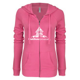 ENZA Ladies Hot Pink Light Weight Fleece Full Zip Hoodie-University Mark Stacked