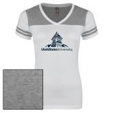 Ladies White/Heathered Grey Juniors Varsity V Neck Tee-University Mark Stacked