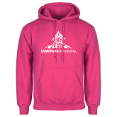 Fuchsia Fleece Hoodie-University Mark Stacked