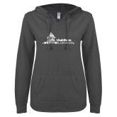 ENZA Ladies Dark Heather V Notch Raw Edge Fleece Hoodie-University Mark Horizontal
