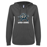 ENZA Ladies Dark Heather V Notch Raw Edge Fleece Hoodie-Utah State Stacked w/  Mascot