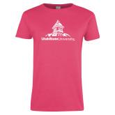Ladies Fuchsia T Shirt-University Mark Stacked