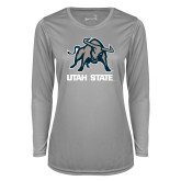 Ladies Syntrel Performance Platinum Longsleeve Shirt-Utah State Stacked w/  Mascot