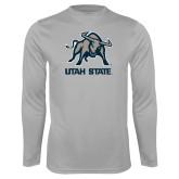 Performance Platinum Longsleeve Shirt-Utah State Stacked w/  Mascot