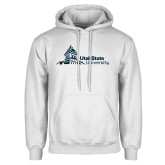 White Fleece Hoodie-University Mark Horizontal