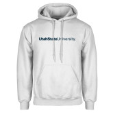 White Fleece Hoodie-University Wordmark Flat