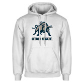 White Fleece Hoodie-Utah State Stacked w/  Mascot