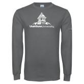 Charcoal Long Sleeve T Shirt-University Mark Stacked