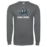 Charcoal Long Sleeve T Shirt-Utah State Stacked w/  Mascot