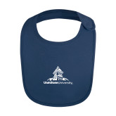 Navy Baby Bib-University Mark Stacked