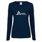 Ladies Navy Long Sleeve V Neck Tee-University Mark Horizontal