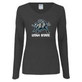 Ladies Dark Heather Long Sleeve V Neck Tee-Utah State Stacked w/  Mascot