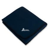 Navy Arctic Fleece Blanket-University Mark Horizontal