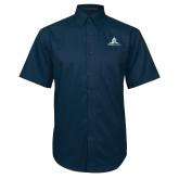 Navy Twill Button Down Short Sleeve-University Mark Stacked
