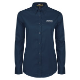 Ladies Navy Twill Button Down Long Sleeve-University Wordmark