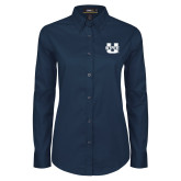 Ladies Navy Twill Button Down Long Sleeve-Primary Mark Athletics