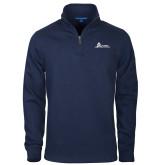 Navy Slub Fleece 1/4 Zip Pullover-University Mark Horizontal