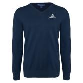 Classic Mens V Neck Navy Sweater-University Mark Stacked