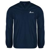 V Neck Navy Raglan Windshirt-University Mark Horizontal
