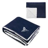 Super Soft Luxurious Navy Sherpa Throw Blanket-University Mark Stacked
