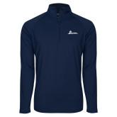 Sport Wick Stretch Navy 1/2 Zip Pullover-University Mark Horizontal