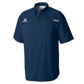 Columbia Tamiami Performance Navy Short Sleeve Shirt-University Mark Stacked