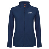 Ladies Fleece Full Zip Navy Jacket-University Wordmark