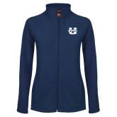 Ladies Fleece Full Zip Navy Jacket-Primary Mark Athletics