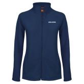 Ladies Fleece Full Zip Navy Jacket-Wordmark Athletics