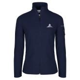 Columbia Ladies Full Zip Navy Fleece Jacket-University Mark Stacked