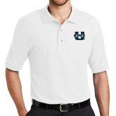 White Easycare Pique Polo-Primary Mark Athletics