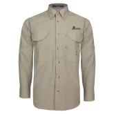 Khaki Long Sleeve Performance Fishing Shirt-University Mark Horizontal