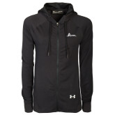 Ladies Under Armour Black Varsity Full Zip Hoodie-University Mark Horizontal