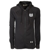 Ladies Under Armour Black Varsity Full Zip Hoodie-Primary Mark Athletics