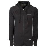 Ladies Under Armour Black Varsity Full Zip Hoodie-Wordmark Athletics