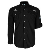Columbia Bahama II Black Long Sleeve Shirt-University Mark Stacked