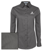 Ladies Grey Tonal Pattern Long Sleeve Shirt-University Mark Stacked
