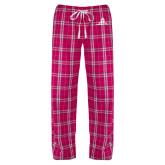 Ladies Dark Fuchsia/White Flannel Pajama Pant-University Mark Stacked