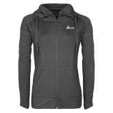 Ladies Sport Wick Stretch Full Zip Charcoal Jacket-University Mark Horizontal