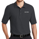 Charcoal Easycare Pique Polo-Wordmark Athletics